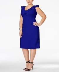 Love Squared Trendy Plus Size Ruffled Bodycon Dress Royal