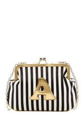 Melie Bianco Striped Initial Pouch A Multi