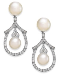 Arabella Cultured Freshwater Pearl And Swarovski Zirconia Drop Earrings In Sterling Silver 5 And 6Mm
