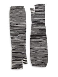 Missoni Striped Wool Blend Fingerless Gloves Black White Coral