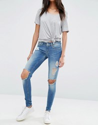 Only Coral Skinny Jeans With Big Holes Length 30 Blue