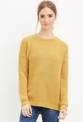 Forever 21 Chunky Ribbed Knit Sweater Mustard