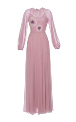Luisa Beccaria Georgette Dress With Allium Embroidery Purple