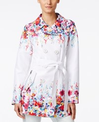 Jessica Simpson Double Breasted Floral Print Trench Coat