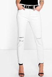 Boohoo High Waisted Slit Knee Skinny Jeans White