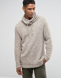 Asos Jumper With Oversized Cowl Neck In Teddy Yarn Beige