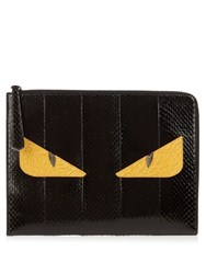 Fendi Bag Bugs Python And Crocodile Pouch Black
