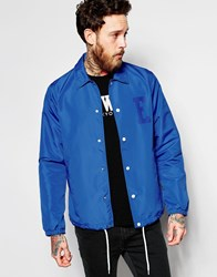 Edwin Coach Jacket Cotton E Logo In Royal Blue Blue