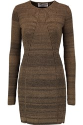 Sonia Rykiel Knitted Cotton Blend Sweater Dress Light Brown