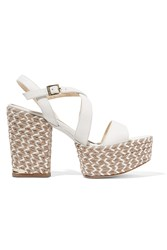 Paloma Barcelo Leather Platform Sandals White