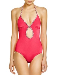 Shoshanna Braided One Piece Swimsuit Neon Red