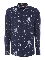 Linea Men's Lemans Blossom Print Shirt Navy