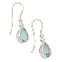 Ewa 9Ct White Gold Aquamarine Teardrop Earrings White Gold Blue