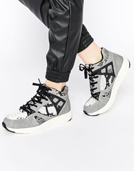 Blink Snake Print High Top Trainers Grey