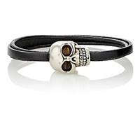 Alexander Mcqueen Men's Leather And Skull Charm Triple Band Bracelet Black Blue Black Blue