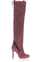 Topshop Unique Lace Up Suede Over The Knee Boots Burgundy