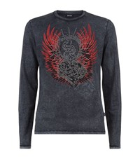 Just Cavalli Studded Wings T Shirt Male Black