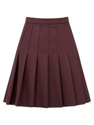 Oasis Faux Leather Pleated Skirt Burgundy