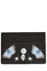 Alexander Mcqueen Nocturnal Print Calf Leather Skull Card Holder Black