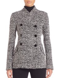 Proenza Schouler Short Boucle Jacquard Double Breasted Coat Charcoal Black