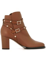 Valentino 'Rockstud' Ankle Boots Brown