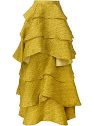 Christian Siriano Ruffled Layered Long Skirt Yellow And Orange