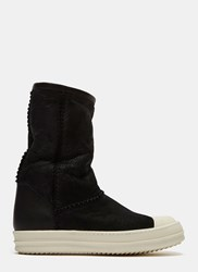 Rick Owens Shearling Suede Sneaker Boots Black