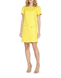 Tahari By Arthur S. Levine Basket Weave Drop Waist Shift Dress Yellow