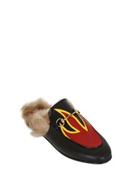 Gucci 10Mm Princetown Leather And Fur Mules