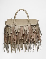 Pieces Fringed Tote Bag With Fold Over Section Grey