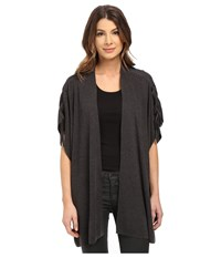 Splendid Cashmere Blend Shoulder Tie Cardigan Heather Charcoal Women's Sweater Gray