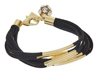 Guess Multi Strand Faux Suede With Metal Tubes Bracelet Black Gold Crystal Bracelet