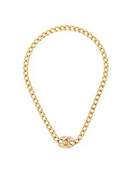 Chanel Vintage Logo Chain Necklace Metallic