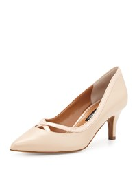 Kay Unger Viktoria Crisscross Leather Pump Nude