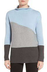 Vince Camuto Women's Colorblock Turtleneck Sweater Light Blue Frost