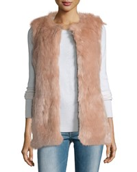 Cusp By Neiman Marcus Faux Fur Long Vest Ballet Pink