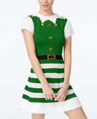 Planet Gold Juniors' Elf Holiday Sweater Dress Green White