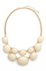 Junior Women's Girly Cabochon Statement Necklace Ivory