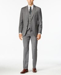 Tommy Hilfiger Men's Slim Fit Gray Tonal Plaid Vested Stretch Performance Suit Grey