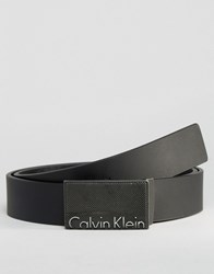 Calvin Klein Ck Void Logo Adjustable Leather Belt Black