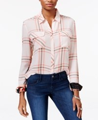 Guess Dylan Plaid Contrast Shirt Pink