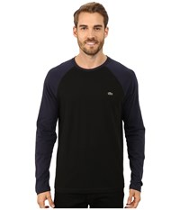 Lacoste Color Block Baseball Jersey Tee Shirt Black Navy Blue Men's T Shirt