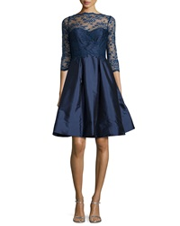 Monique Lhuillier Bridesmaids 3 4 Sleeve Lace Bodice Full Skirt Short Dress Navy