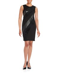 Calvin Klein Leatherette And Faux Suede Sheath Dress Black