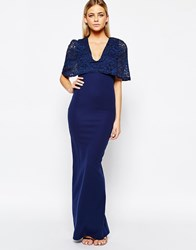 Club L Kimono Sleeve Maxi Dress With Lace Overlay Navy
