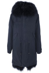 Mr And Mrs Italy Shearling Trimmed Cotton Canvas Parka Midnight Blue