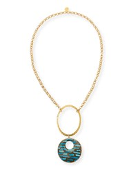Long Copper Infused Turquoise Pendant Necklace Devon Leigh