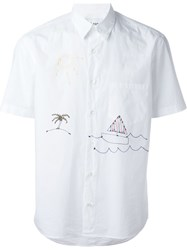 Jimi Roos Short Sleeved Beach Print Shirt White