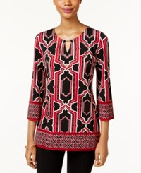 Jm Collection Printed Keyhole Tunic Only At Macy's Red