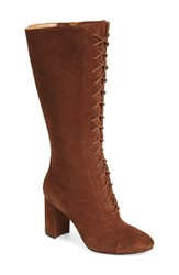Women's Nine West 'Waterfall' Lace Up Knee High Boot Brown Suede
